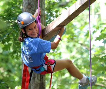 Dangling Duo on the Ropes Course of Camp Skyline.